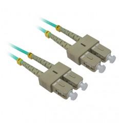Plenum SC-SC OM3 10GB 50/125 Aqua Fiber Optic Cable 80m