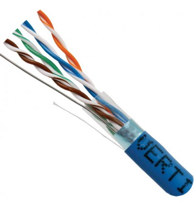 Blue 500Ft Cat5e Shielded Solid Copper Bulk Cable