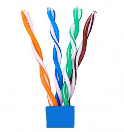 50Ft Cat5e Plenum UTP Bulk Copper Cable Blue
