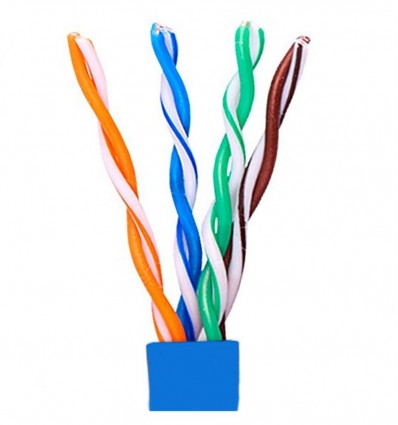 400Ft Cat5e Plenum UTP Bulk Copper Cable Blue