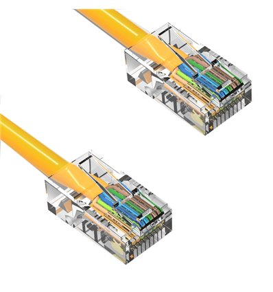 25Ft Cat5e Ethernet Non-booted Cable Yellow