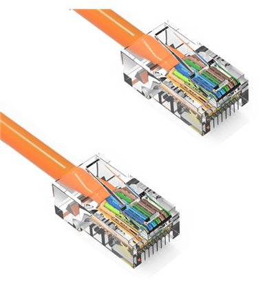 50Ft Cat5e Ethernet Non-booted Cable Orange