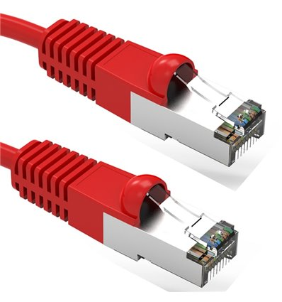2Ft Cat5e Ethernet Shielded Cable Red