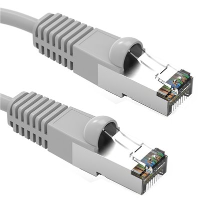 25Ft Cat5e Ethernet Shielded Cable Grey