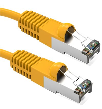 25Ft Cat5e Ethernet Shielded Cable Yellow