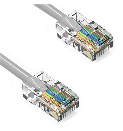 2Ft Cat6 Ethernet Non-booted Cable Grey