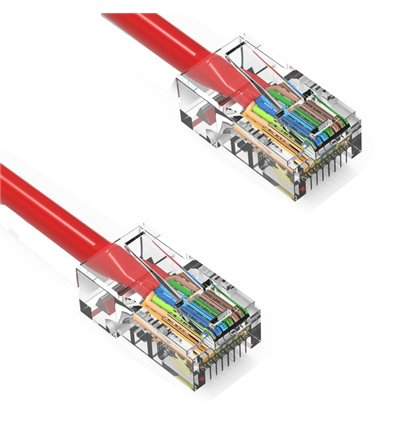 10Ft Cat6 Ethernet Non-booted Cable Red