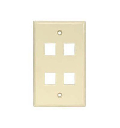 4port Keystone Wallplate Ivory