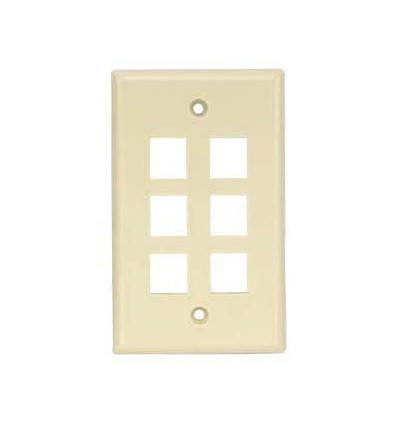 6port Keystone Wallplate Ivory