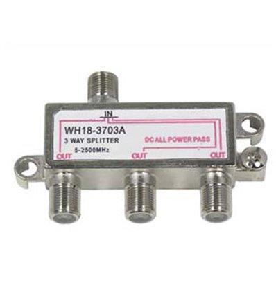 3Way 2.5GHz Satellite Splitter DC Power Pass