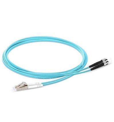 LC-ST Fiber Optic Plenum Multimode Cable Duplex OM3 50/125 OFNP