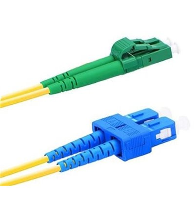 LC APC TO SC UPC DUPLEX 9/125 SINGLE MODE FIBER PATCH CABLE OFNR