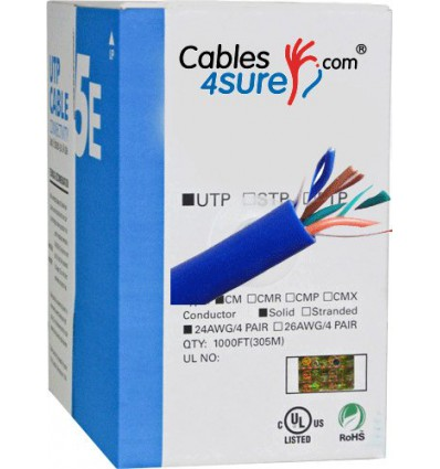 1000Ft Cat5e Bulk Stranded UTP Copper Cable - Blue